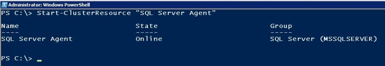 powershell Bring the SQL Server Agent Resource Online