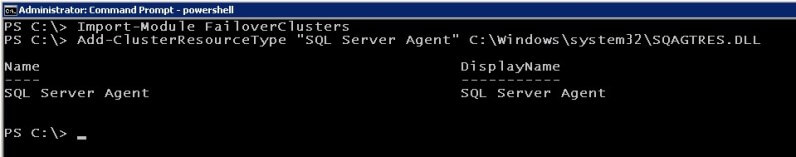 powershell Create the SQL Server Agent resource type