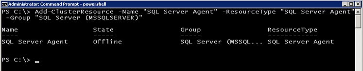 powershell dd the SQL Server Agent resource to the SQL Server Cluster Resource Group
