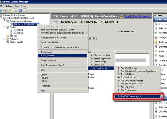 cluster manager dd the SQL Server Agent resource to the SQL Server Cluster Resource Group