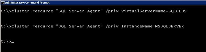 cluster.exe Set the private properties of the SQL Server Agent resource.