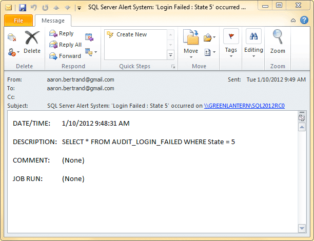 E-mail resulting from an alert to an operator