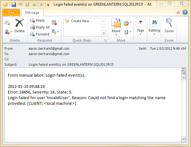 E-mail resulting from manual stored procedure call