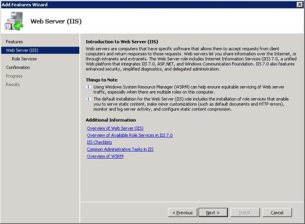 Windows Server Manager: Add Features wizard