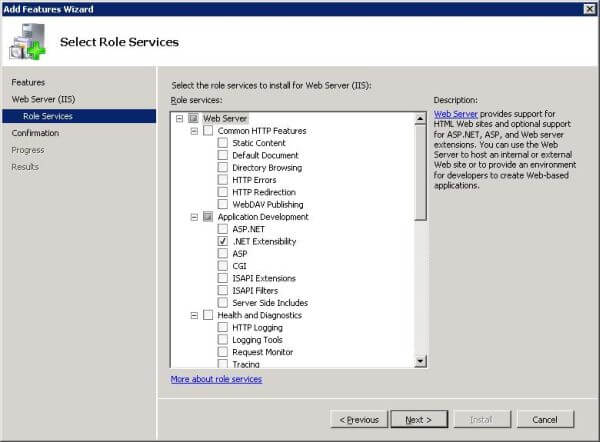 Add features through Windows Server Manager: Select role services