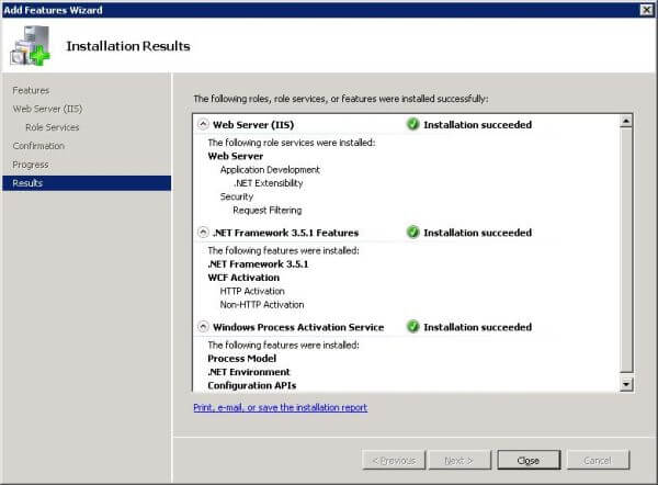 Add features through Windows Server Manager: installation results