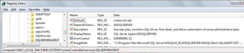 sql server registry entries