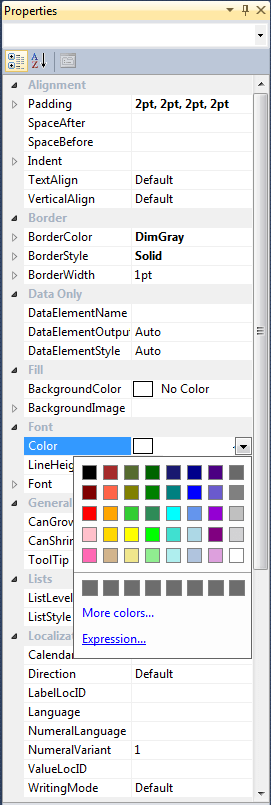 ssrs development properties window for colors and expressions