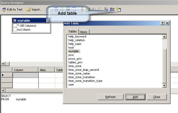 Add the MySQL table