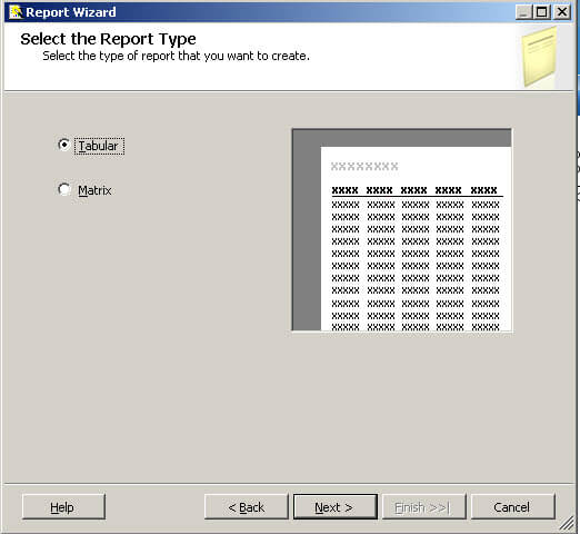 Select the Report Type