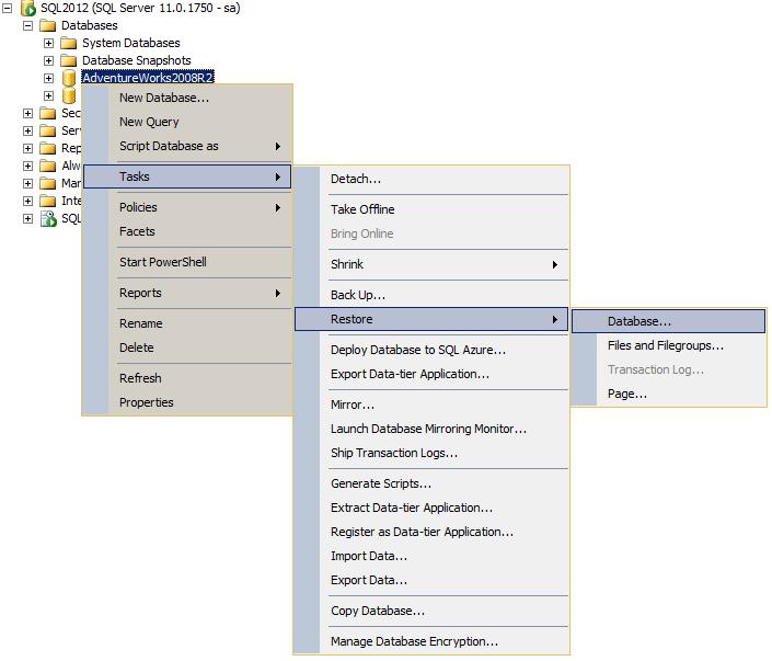 ssms restore menu tree