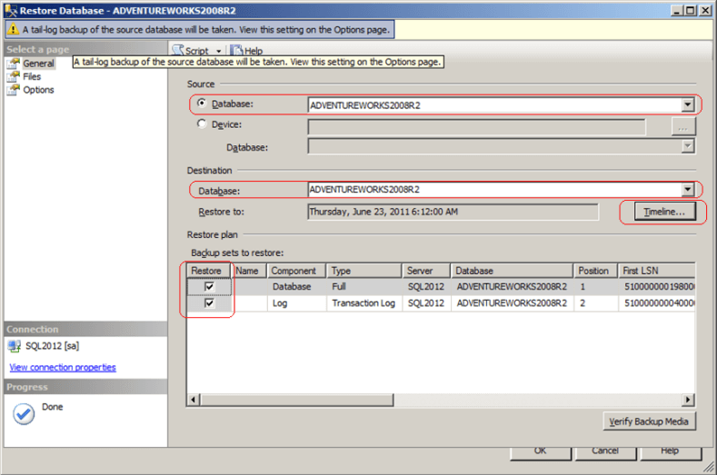 ssms restore database dialog window