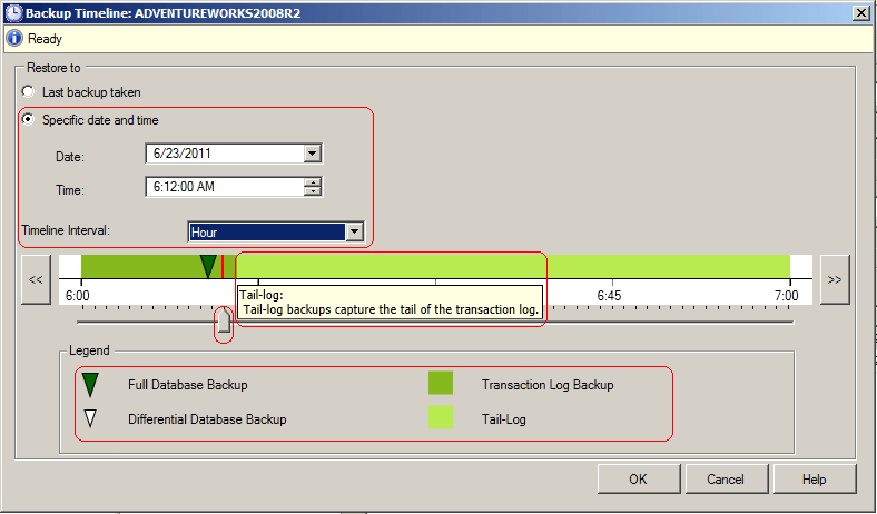 sql server backup timeline dialog window