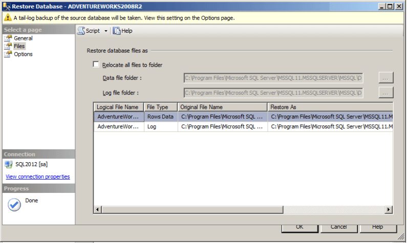 sql server ssms restore database window
