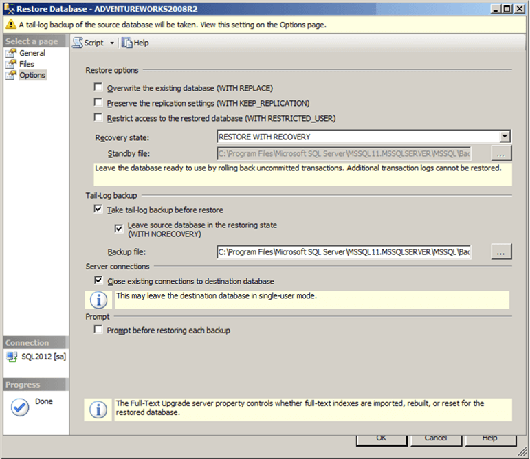 sql server ssms restore database window restore options