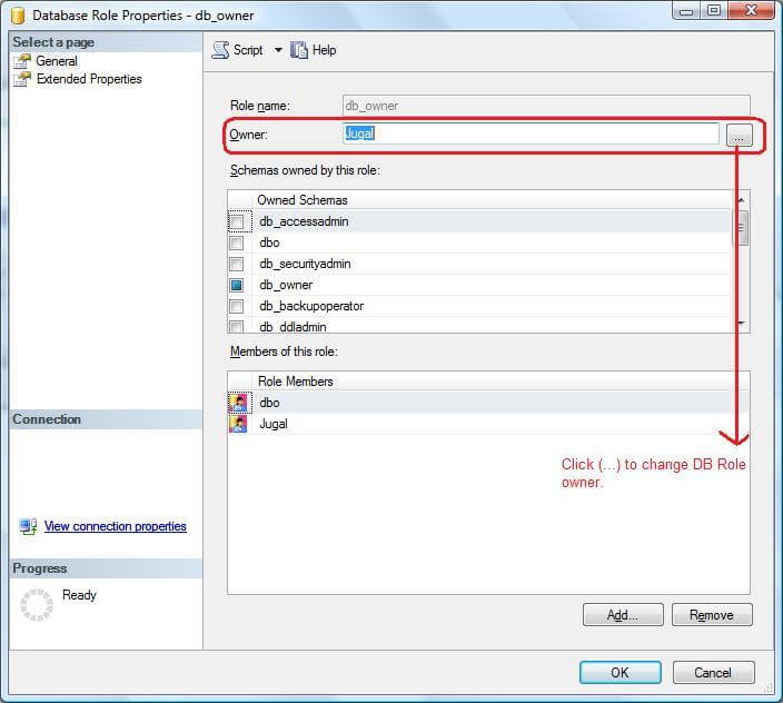 ssms change database role owner