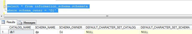 sql query to get a list of schemas owned by a user