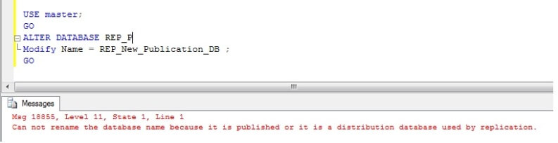 Error on renaming publication database