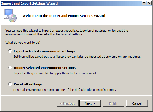 ssms import export reset all keyboard settings