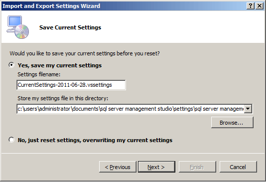 save current keyboard settings for sql server