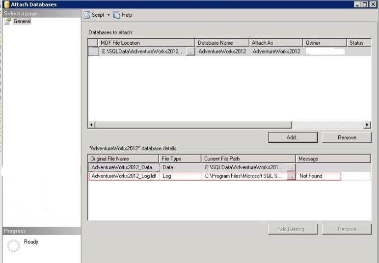sql server attach database ssms