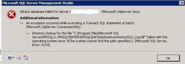 ssms attach database error
