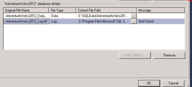 sql server attach database files