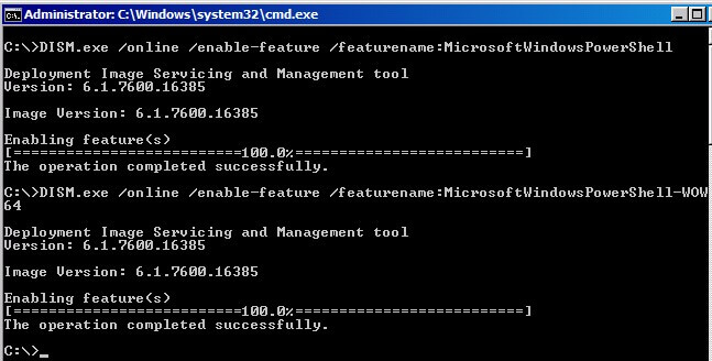 Enabling Windows PowerShell using DISM
