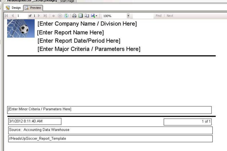 Creating A Reporting Service Report Template