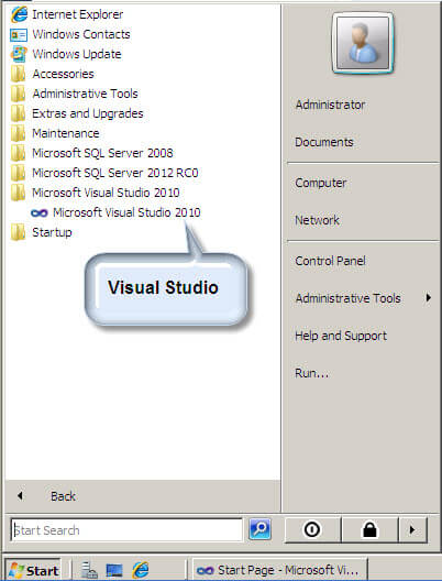 Start the Visual Studio