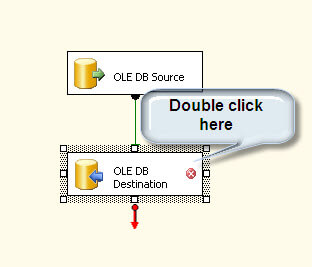 Double click the OLE DB Destination