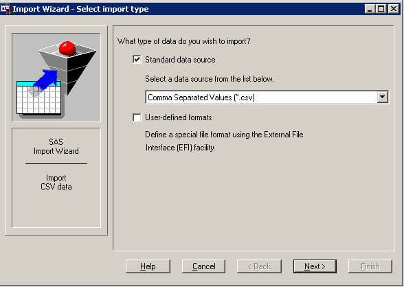 sas import wizard data source