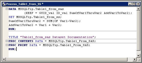 SAS code to export data to a flat file