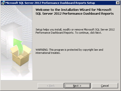 SQL Server 2012 Performance Dashboard Report Welcome Screen