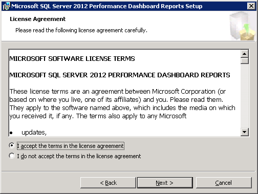 Microsoft SQL Server 2012 Performance Dashboard Reports License Agreement