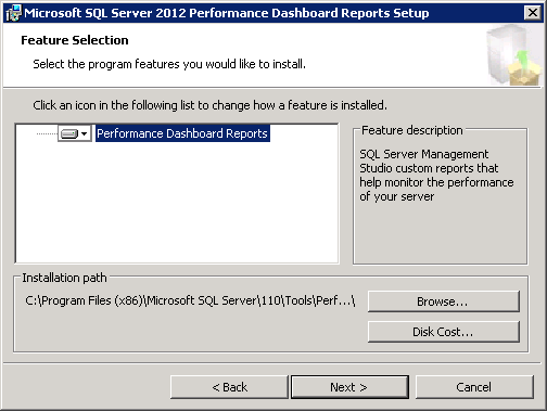 Microsoft SQL Server 2012 Performance Dashboard Reports Feature Selection