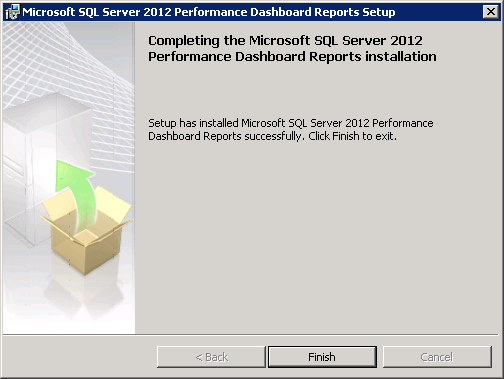 Microsoft SQL Server 2012 Performance Dashboard Reports Installation Completion Screen