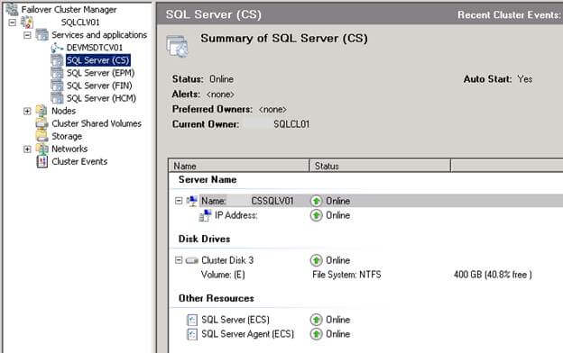 Managing a Windows and SQL Server Cluster using the Failover