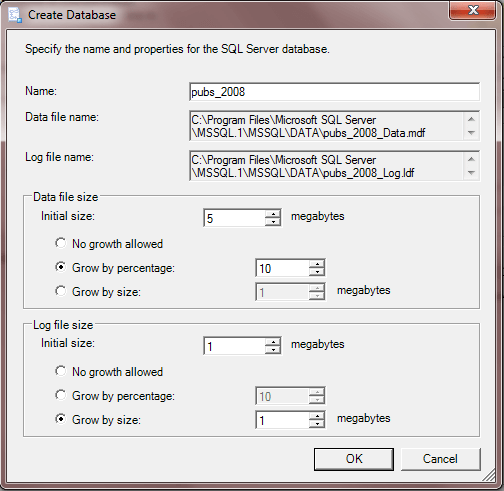 Create Database window in the Import and Export Wizard