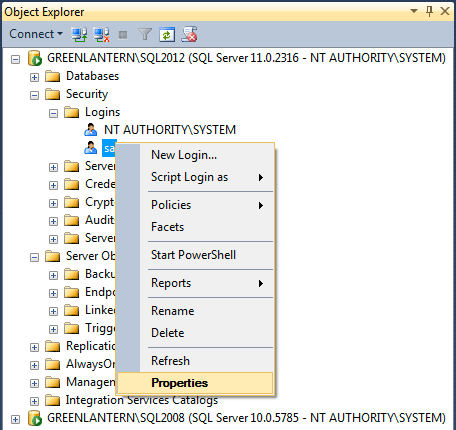 Object Explorer NT AUTHORITY\SYSTEM