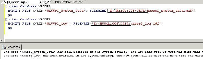 Change file location in master database system catalog view