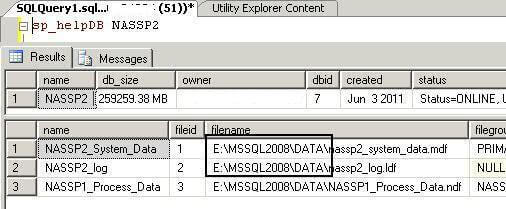 Check db file location after file location