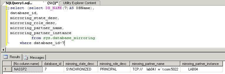 Checking Mirror DB role and Its partner Name
