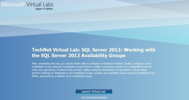 Launch Virtual Lab