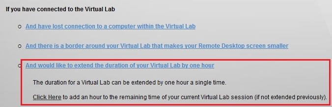 Extend Virtual lab timing