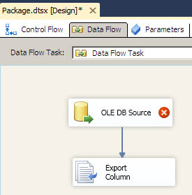 OLEBD and Export column task on the SSIS Data Flow