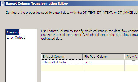 Export column Transformation Editor