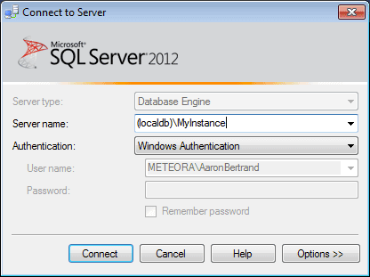 SSMS Connect to Server dialog