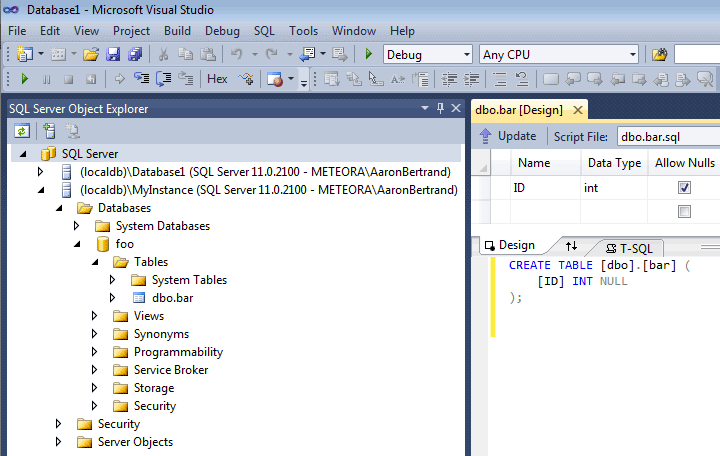 SQL Server Data Tools - Object Explorer