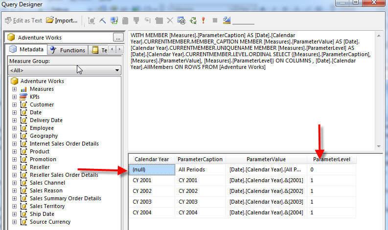 Dataset filter Query